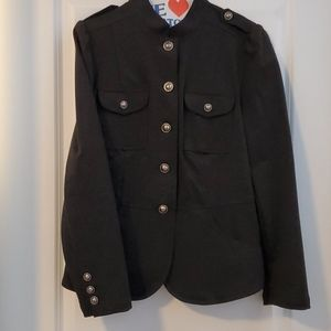 Cute military style stretchy jacket button detail